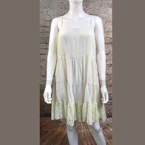 UMGEE White Lace Slip Dress Peasant Boho Large